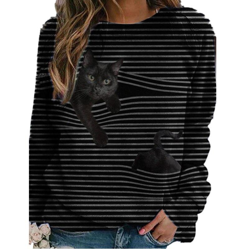 Женская футболка в полоску, с круглым вырезом и длинным рукавом