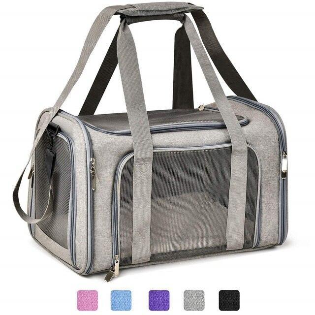 犬のキャリアバッグポータブルペットのバックパックメッセンジャー猫キャリア発信小型犬旅行バッグソフト側の通気性メッシュ
