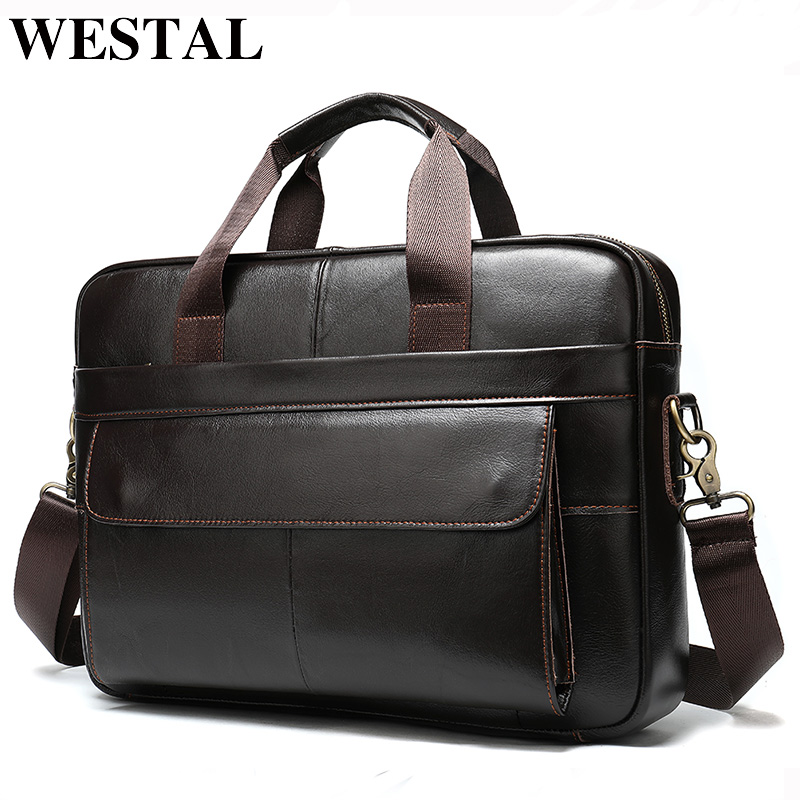 WESTAL Porte Document  Men's Briefcase Bag Men's Genuine Leather Office Bags For Men Leather Laptop Bag Business Handbag 1115