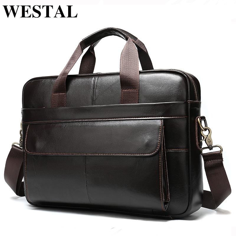WESTAL Porte Document  Men's Briefcase Bag Men's Genuine Leather Office Bags For Men Leather Laptop Bag Business Handbag 1115
