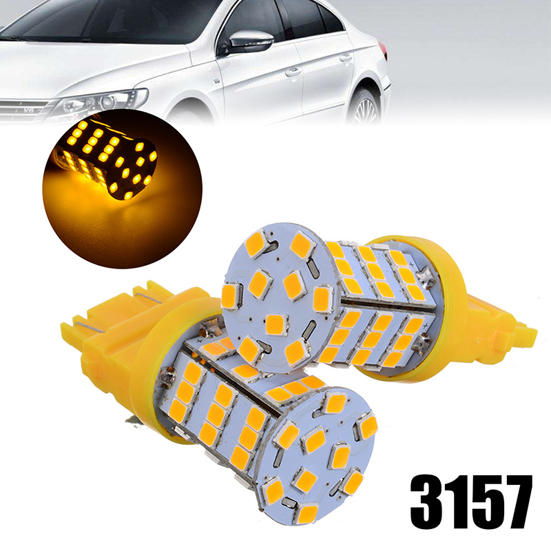 Universal 2pcs 40W 3157 2835 54 LED Amber Yellow Turn Signal  Light High Power Lamp Bulbs For Car Auto Truck