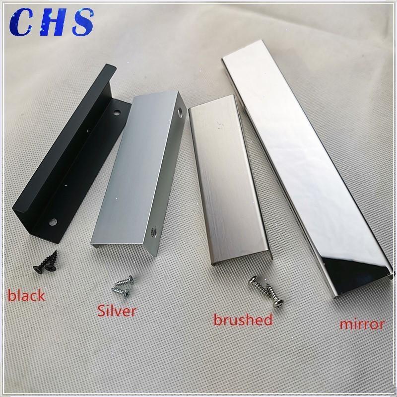 Black Silver Brushed Mirror Hidden Cabinet Handles Stainless Steel  Kitchen Cupboard Pulls Drawer Knobs  Furniture Handle
