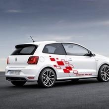 For Volkswagen POLO Golf CC GTI R LINE R WRC TSI Racing Lattices Sticker Car Body Door Decor Vinyl Decal Both Side DIY Sticker