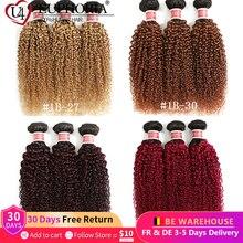 Ombre 27 Kinky Curly Hair 3 Bundlesบราซิลผมมนุษย์1/3/4 Pcs 1B BrwonสีแดงBurg Non remyผมหยิกBundlesEUPHORIA