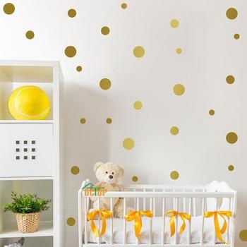 Многоцветные Diy наклейки на стену в горошек для детской комнаты украшения металлик Золотой черный розовый узор в горошек наклейки на стену домашний декор