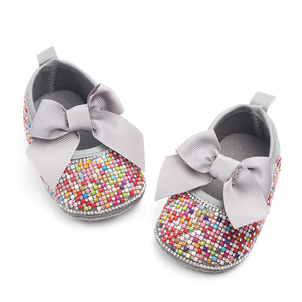 MiYuebb Rainbow Sequins Pearls Baby Girl Shoes Butterfly-knot Princess Shoes Newborn Infant Toddler Shoes