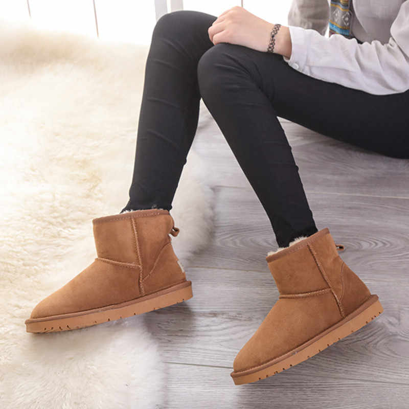 Kar botları kadın su geçirmez avustralya kış solucan ayakkabı kaymaz kauçuk taban 100% hakiki inek derisi deri büyük boy toptan