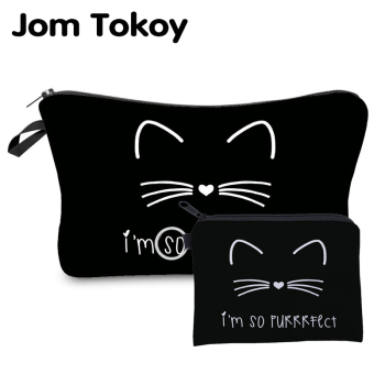 Jom Tokoy New fashion 2 PCS Printing Girl Gift Makeup bag Cute Animal Cosmetic bag Set Combination