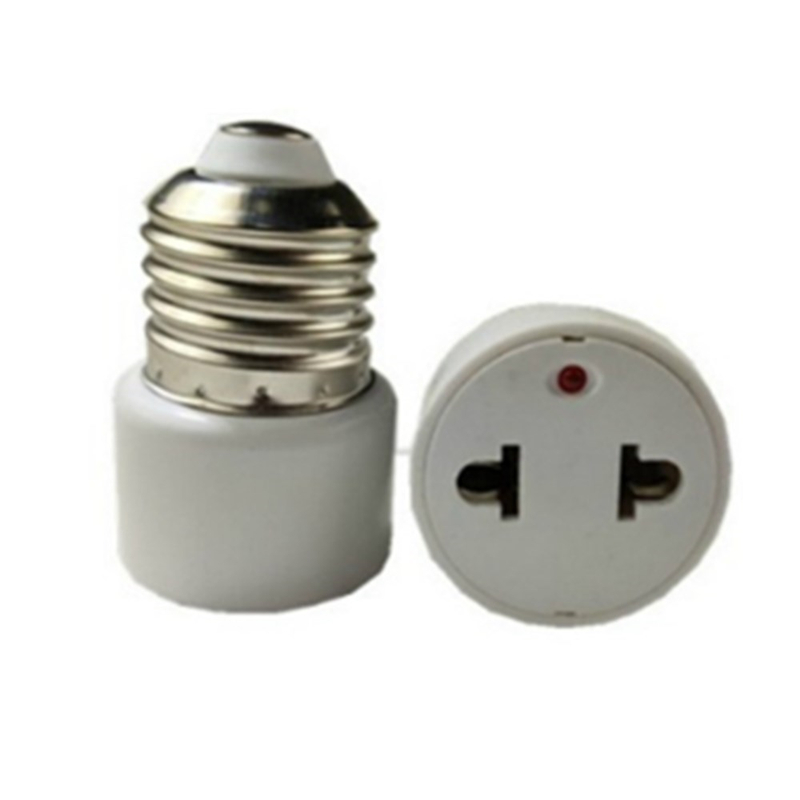 AC220V E27 Base Lamp Holder Bulb Adapter Converter To US Plug 2 Hole Flat Socket For Home Fluorescent LED Lamps Conversion