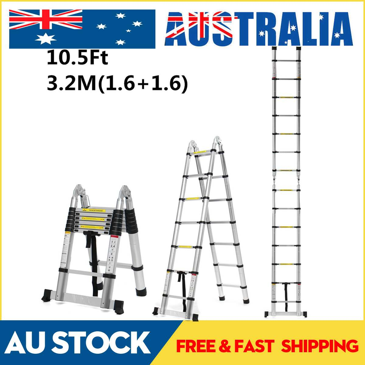 3.2m 10.5Ft Aluminium Telescopic Ladders Folding Ladder Dual-Use Herringbone Ladder Multifunctional Single Extension Tools