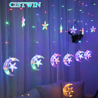 LED Moon Star lamp String Curtain Lights Christmas Wedding Holiday Decoration Garlands Fairy Light Outdoor For Party 2.5M 220V