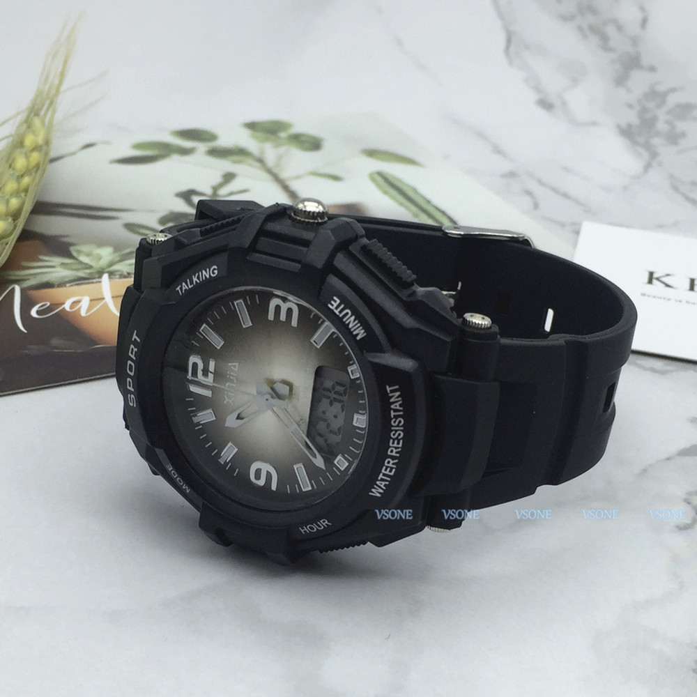 Spanish Analog-Digital Dual Display Talking Wrist Watch W/Alarm For The Blind And Low Vision, With Black Ruber Strap 861ZTS-BLK