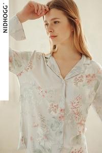 Image 4 - ฤดูร้อน Tribute ซาตินดอกไม้พิมพ์ชุดนอนหวานแขนยาวชุดนอน Loungewear ผู้หญิง Turn down Collar ชุดนอนเสื้อผ้า