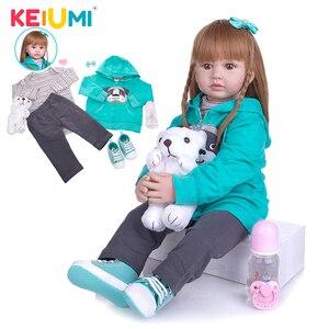 KEIUMI New Hair Style 24 Inch Lovely Princess Reborn Baby Girl Doll Soft Cloth Body Verdadeiro Reborn Bebe Toys To Birthday Gift(China)