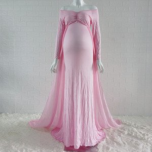 Image 4 - Baby Shower Jersey Dresses Maternity Photography Long Dress with Cloak Fitted Pregnancy Dresses Chiffon Cloak  Maternity Gown