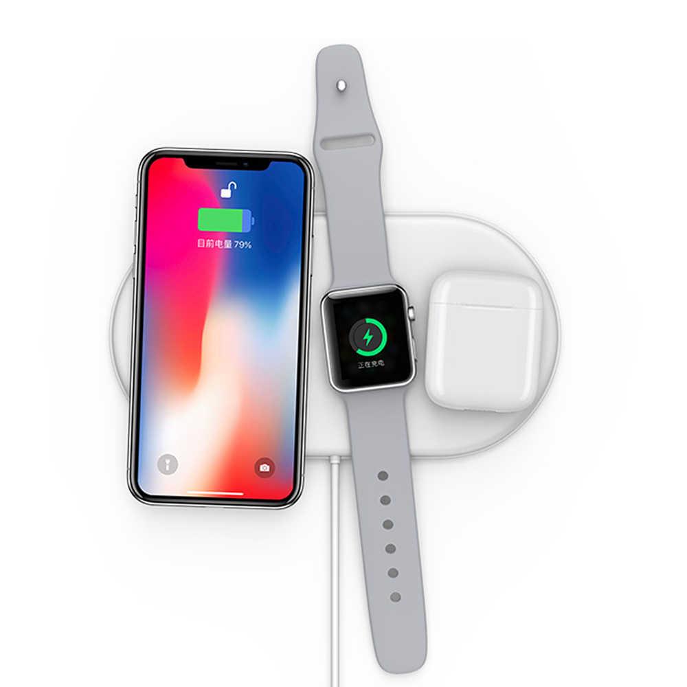 Bezprzewodowa ładowarka QI 7.5W do Apple Watch 2 3 4 5 Airpower mat Airpods 2 Pro do iPhone 8 X XS XR 11 Pro Max SE2 szybkie ładowanie