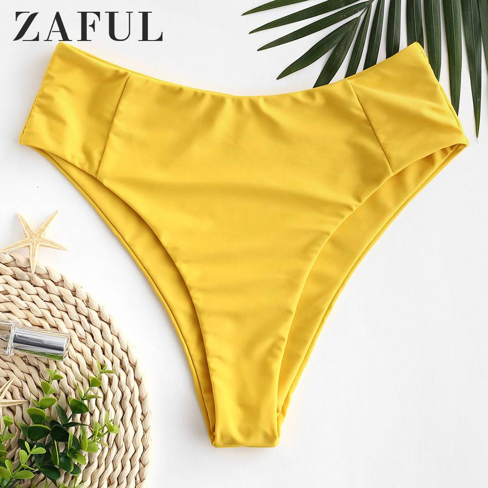 ZAFUL Seam High Waisted Bikini Bottom One Piece Swimsuit Panties Underwear Side Ties Brazilian Thong Ladies Bottoms Short 2020