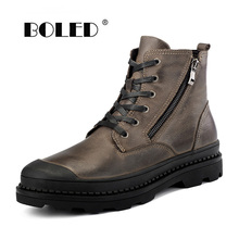 Winter Boots Shoes Ankle Natural-Leather Plus-Size Fashion Warm And Autumn Men Sonw