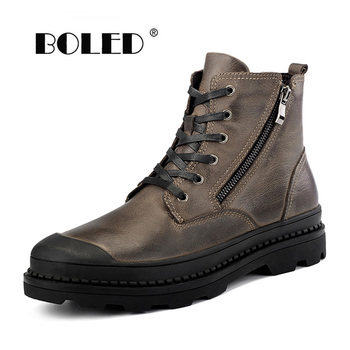 Natural Leather Men Boots Plus Size Winter Boots Shoes,Plush Warm Sonw Boots,Fashion Ankle Autumn And Winter Shoes Men nt00022 4 men s winter fashionable plush lining warm martin ankle boots black pair size 43
