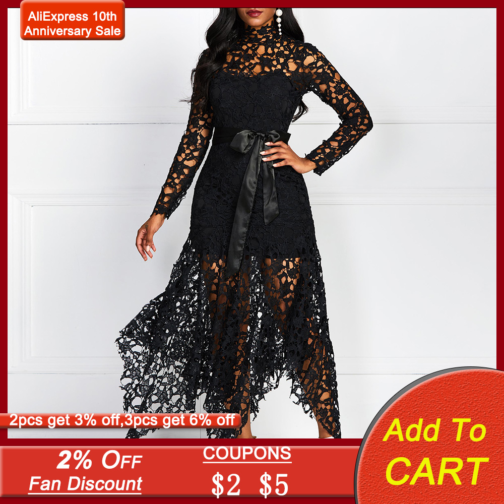 Sexy Hollow Lace Elegant Evening Party Dress Women Irregular Plus Size Long Dresses Summer Lace Up Mesh Bodycon Black Maxi Dress