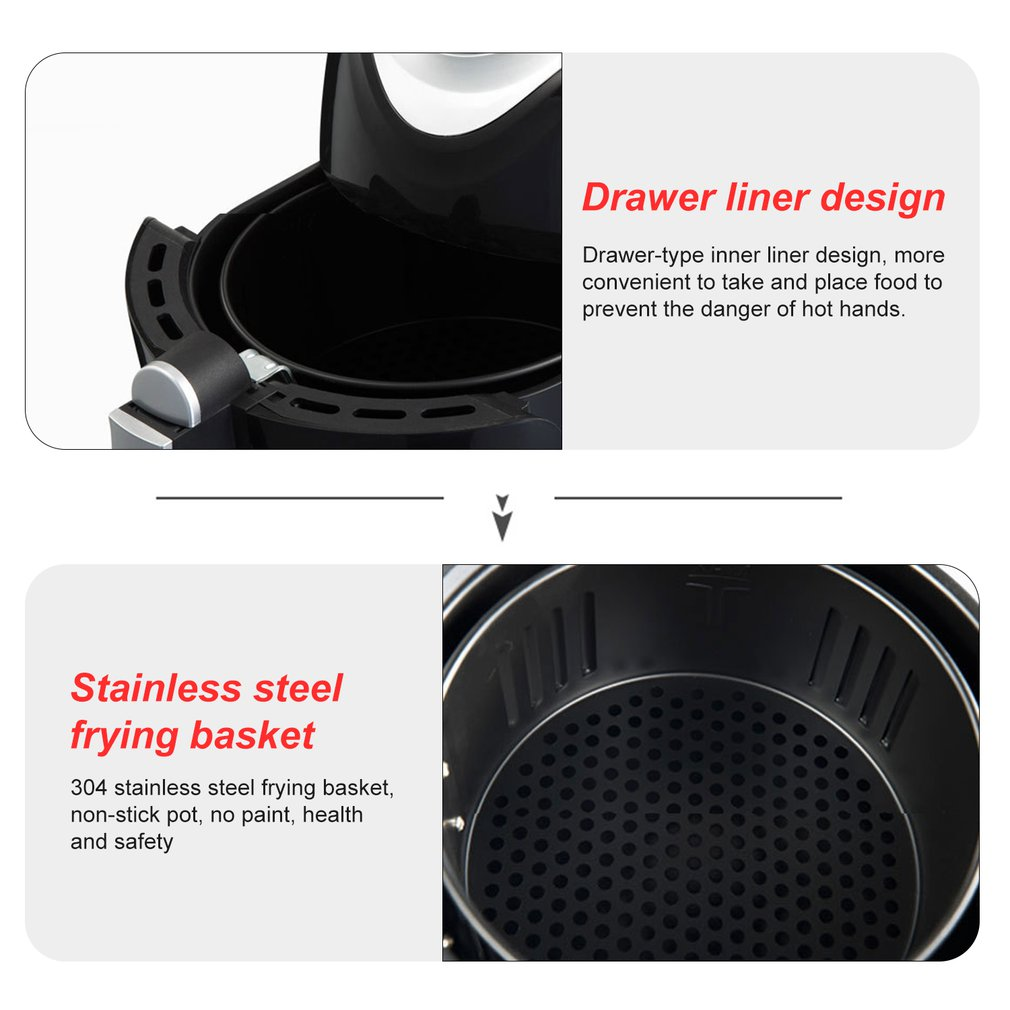 Air Fryer High-capacity Low Fat Healthy Air Fryer Fries Machine Deep Frying Pan for Healthy Oil Free Cooking 1300W/2.6L