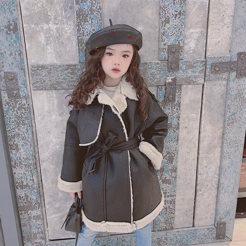 Hot selling children Pu leather jackets girls plus velvet long leather coats kids lambswool outerwear teenage tops ws1285