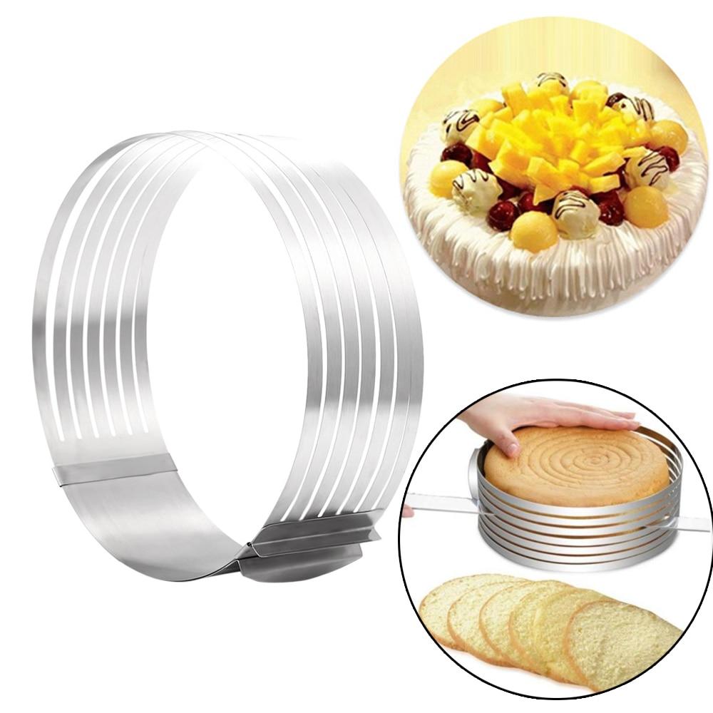 Adjustable Cake Cutter Slicer Stainless Steel Round Bread Cake Slicer Cutter Mold Cake Tools DIY Kitchen Baking Accessories|cake tools|cake slicer|ring cake - title=
