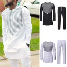 African Style Solid Color Casual Tops Men's Ethnic Style Clothing Printed Round Neck Pullovers Long Sleeves