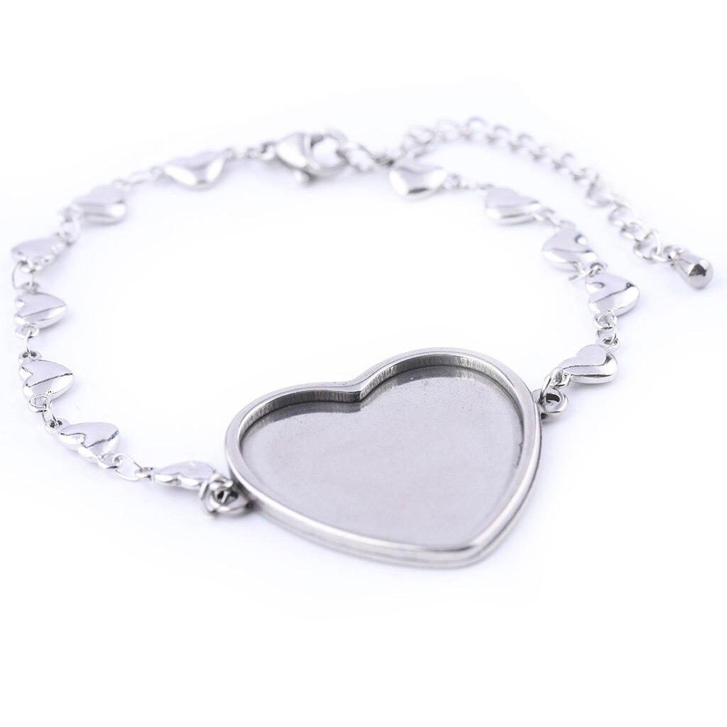 5pcs stainless steel fitting 25mm heart cabochon bracelet trays diy blank bezel settings for chain bracelets making findings