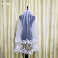 New two layer White Ivory Short Wedding Veils Lace Fingertip Long wedding accessories Cheap Voile Bridal With Comb