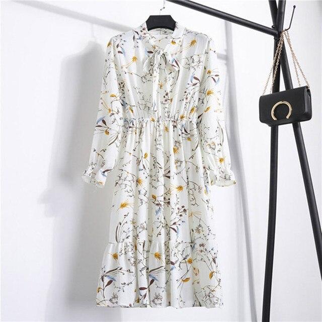 Женское шифоновое платье в горошек, платье с воротником-стойкой и длинным рукавом, с цветочным принтом, лето 2020 1