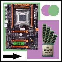 Construir desconto computador huananzhi x79 deluxe placa-mãe com slot m.2 cpu intel xeon e5 4650 v2 ram 64g (4*16g) 1866 reg ecc