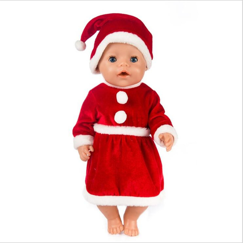 Born New Baby Doll Clothes Red Three Pieces Fluffy Shawl Christmas Dress Gift/'s