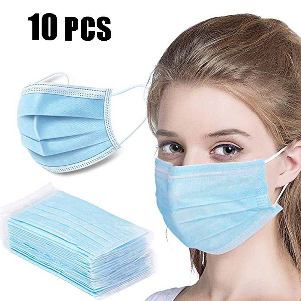 10 PCS Daily Use Disposable Three Layers Protection Masks Dust-proof Ventilation Mouth Masks Filter Bacteria Civil Masks