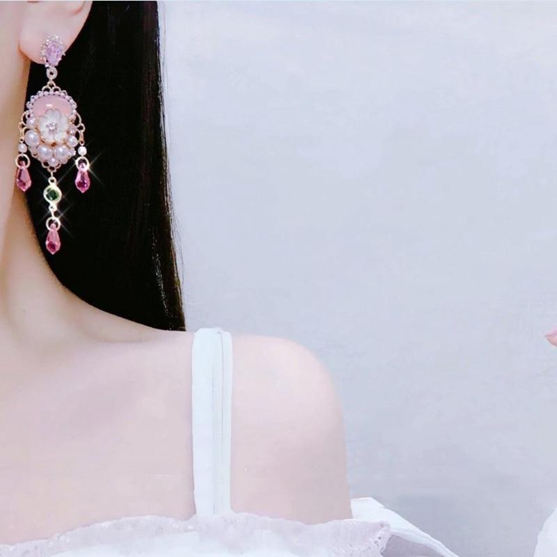 Mengjiqiao новые винтажные роскошные розовые Кристальные Висячие