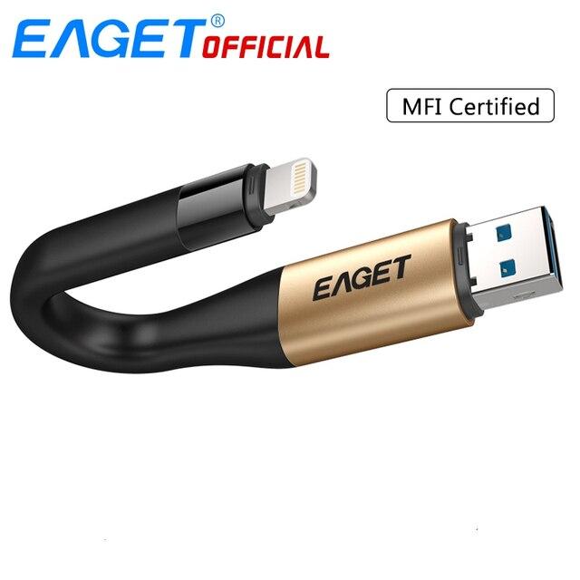 Eaget i90 usb flash drive usb 3.0 64 gb 128 gb 2 em 1 mfi certificou a vara da memória da carga da movimentação da pena de otg para o relâmpago para iphone