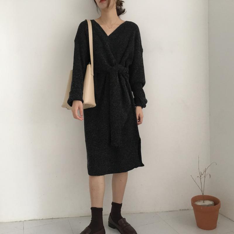 H5fd6cd524f24458e91841521184e31ea2 - Winter Korean V-Neck Long Sleeves Knitted Dress