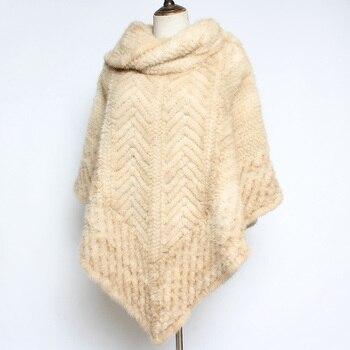 2020 Women Luxury Real Mink Fur Shawl Poncho Lady Fashion Soft Warm Genuine Mink Fur Shawl Scarf Brand Authentic Fur Shawl