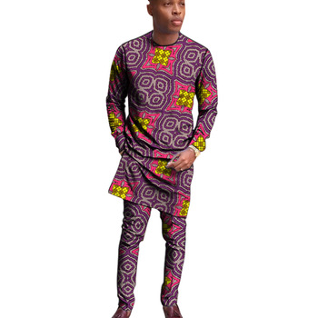African fashion man long shirts matching trousers senator style men's sets Ankara outfits tailor made man groom suits plus size