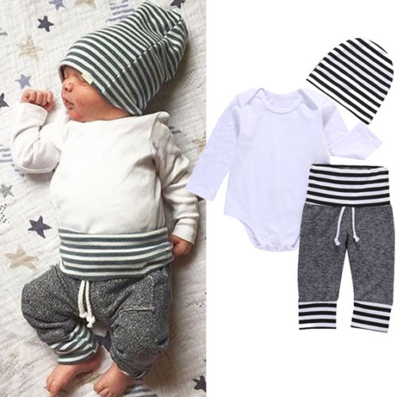 3Pcs Infant Newborn Baby Boy Clothes Outfit Set Solid Cotton White Rompers And Striped Long Pants Hats Set 3-18M