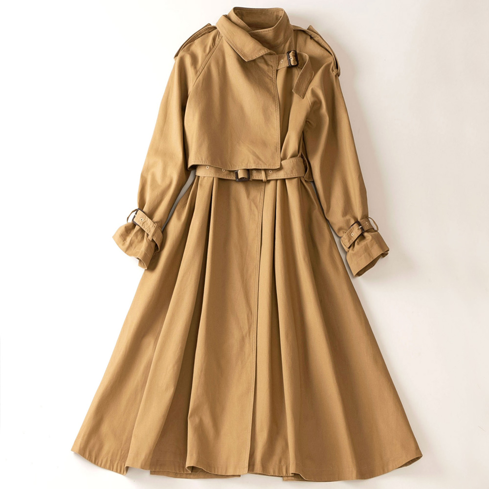 Good Quality Winter Long Trench Coat Women Fashion No Button Belt Slim Big Hem Womens Windbreakers Gothic Coat Womens Trenchcoat