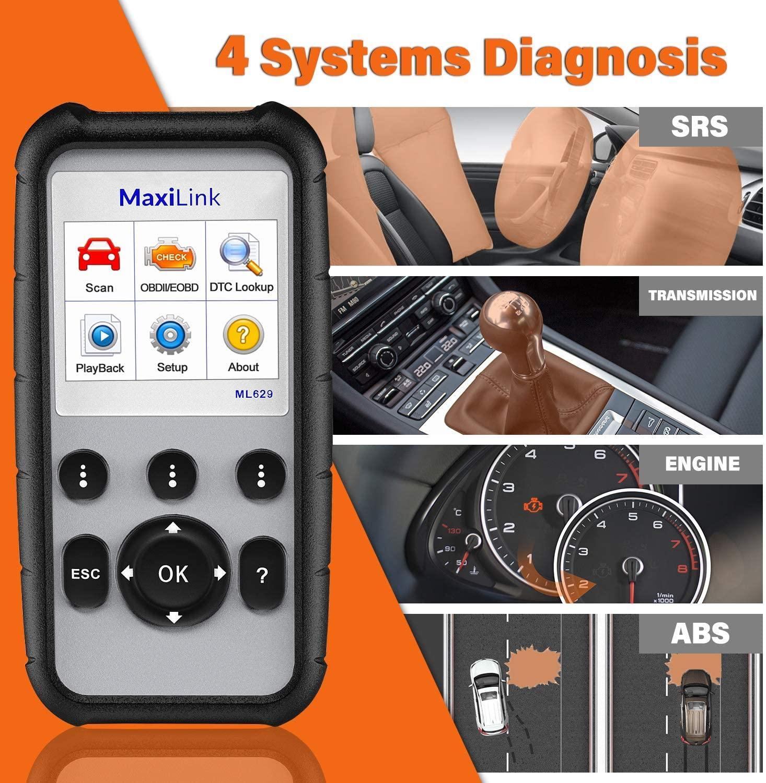 Autel MaxiLink ML629 escáner mejorado CAN OBD2 con transmisión ABS SRS, motor de diagnóstico automático, herramienta de escaneo VIN, apagado, comprobación de luz Obd2 escáner Mini elm327 Bluetooth V2.1 / V1.5 OBD2 herramienta de diagnóstico de coche ELM 327 Bluetooth para Android/Symbian para el protocolo OBDII