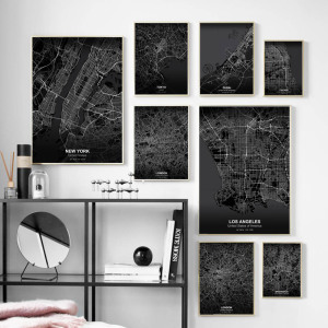 New York London Tokyo Chicago Map Wall Art Canvas Painting Nordic Posters And Prints Black White Wall Pictures For Living Room