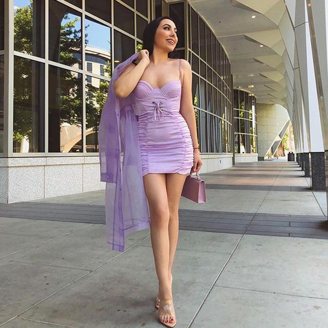 Haute qualité Satin soirée robe de soirée 2020 femmes Club robe Sexy Spaghetti sangle pansement robe moulante lilas Mini robe MS-1330