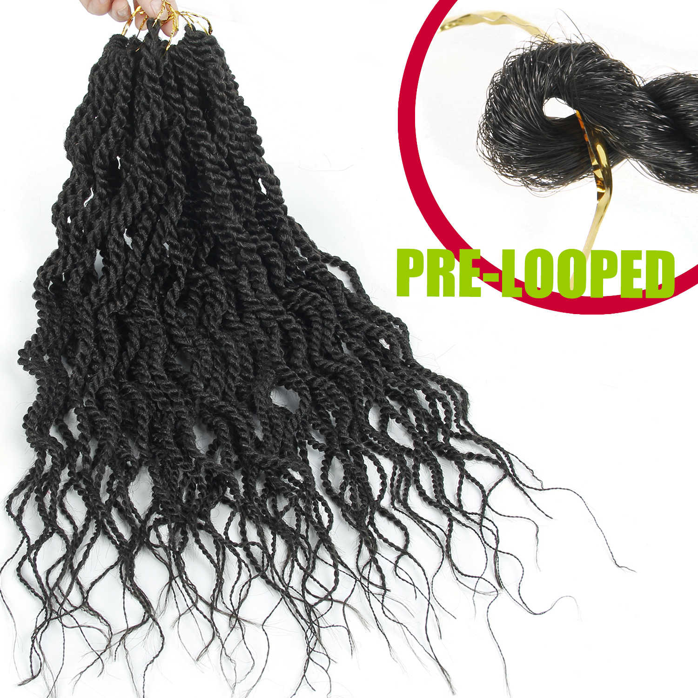 "YxCheris Bulk Crochet Braids Hair Extensions 18""Synthetic Curly Senegalese Twist Crochet Braiding Hair Weave Black Omber"
