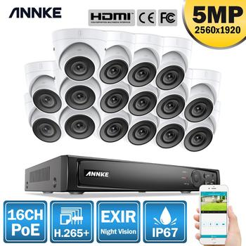 ANNKE 16CH FHD 5MP POE Network Video Security System 4K H.265+ NVR With 16PCS 5MP EXIR Night Vision Weatherproof WIFI IP Camera 1