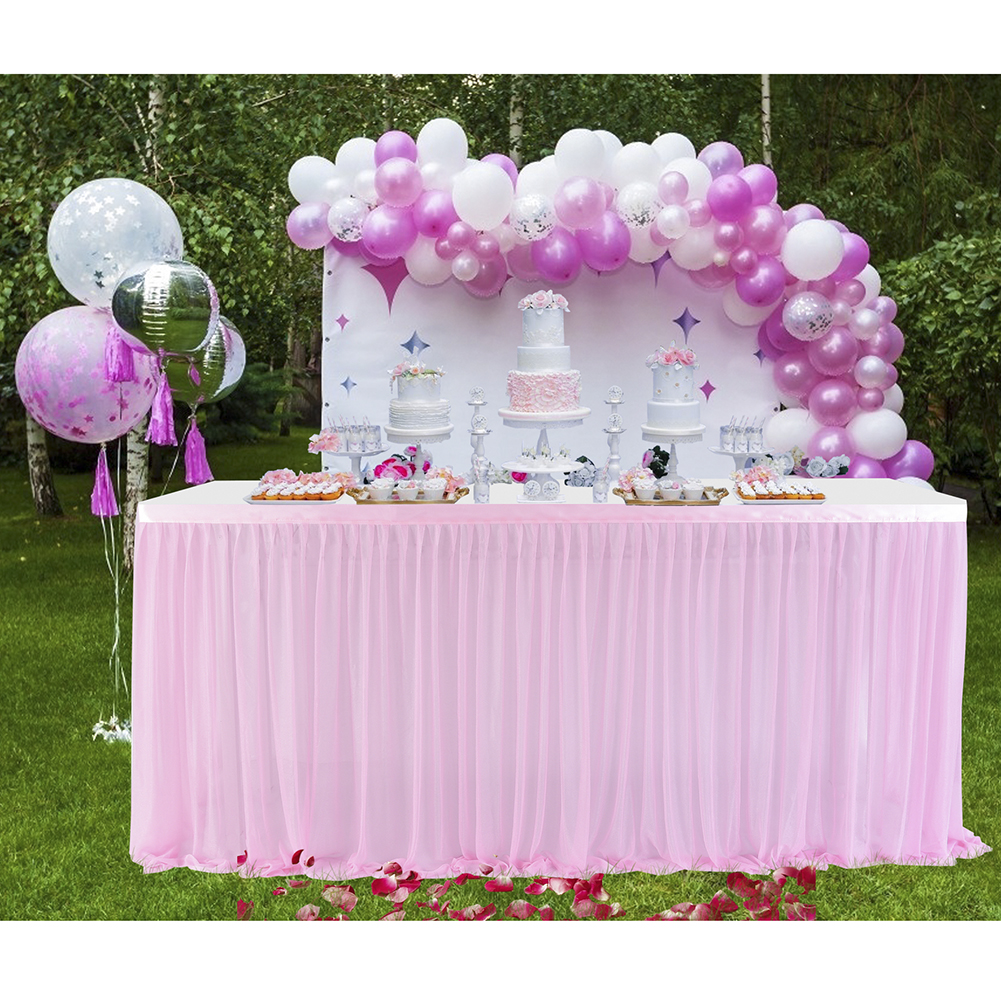 6/9/14ft Table Skirt Cover Birthday Wedding Festive Party Decor Waterproof Table Cloth Jupe De Table Mariage Mesa Dulce Decor