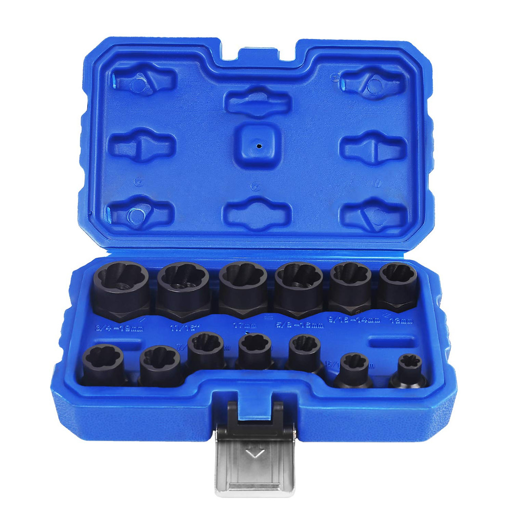 14Pc/Set  Impact Damaged Bolt Nut Remover Extractor Socket Tool Set With Socket Nut Adapter Bolt Nut Screw Removal Socket Wrench