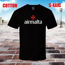 Men t shirt Air Malta Logo Black Tee Shirt t-shirt novelty tshirt women(China)