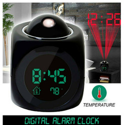 Digital Alarm Clock LED Projector Temperature Thermometer Desk Time Date Display Projection Calendar USB Charger Table Clock